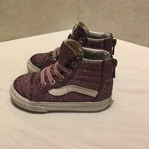 Vans Pink Sparkly High Top Baby Shoes  size: 5.5